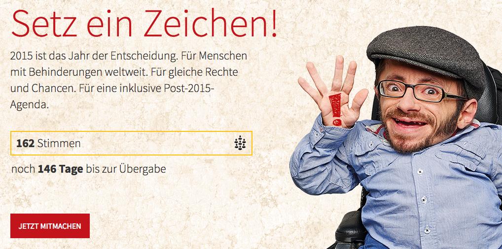 """Raúl Krauthausen, Aktivist und CBM-Botschafter, unterstützt die Kampagne """"Setz ein Zeichen!"""" der Christoffel-Blindenmission ."""